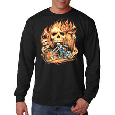Skulls Flames Fire Chopper Motorcycle Biker Long Sleeve T-Shirt Tee