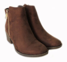 NEW WOMEN *RENEEZE* COMFY STACKED CHUNKY HEEL SIDE ZIPPER ANKLE BOOTIE PAMA01/BR