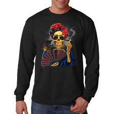 Frida Painter Fan Butterfly Day Of The Dead Skull Long Sleeve T-Shirt Tee
