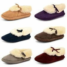 Ladies Womens Slippers Mules Fur Lined Luxury Warm Slip On Textile Shoes Size