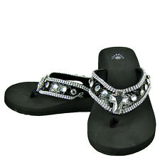 BLACK CROC RHINESTONE CROSS FASHION FLIP FLOPS ISABELLA SANDALS BRAND NEW