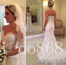 New Style white/Ivory Sexy Lace Mermaid Wedding Dress Bridal Ball Gown Custom