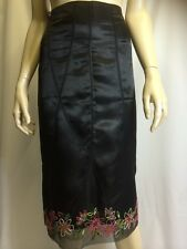Bnwt Principles Black Satin Party Skirt Beaded Size 12 Knee Length