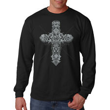 Gothic Grey Cross Religion Faith Long Sleeve T-Shirt Tee