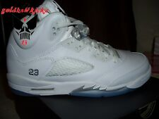 Nike Air Jordan 5 V Retro BG Y White Metallic Silver GS OG 440888-130