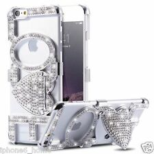 Luxury Diamond Bling LOVE Silver Bumper Case Cover + Kickstand For iPhone 6/6s