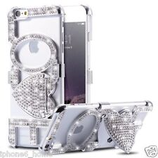 iPhone 6/6s Luxury Diamond Crystal Bling Love Silver Bumper Case Cover + Stand