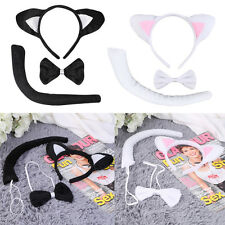 Animal Tail & Ear Headband & Bow Tie 3 pcs Tail Party Little Cat Christmas EA