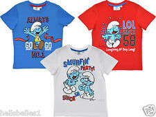 FULLY LICENSED OFFICIAL SMURFS SHORT SLEEVE TOPS 4 5 6 8 10 YEARS