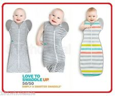 ❤ Love to Dream Swaddle WRAP ME UP Transitional 50/50 Baby Grey Strip Lite ❤