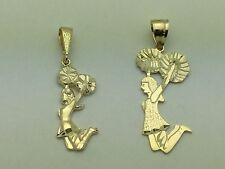 14K Yellow Gold Jumping Cheerleader Charm Pendant Available in Small & Big Size