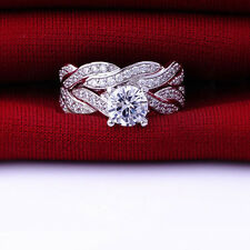 SZ 6-9 Silver Plated Wedding Engagement Ring Pair Set Propose Bridal Halo Rings