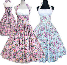 NEW 50'S 60'S VINTAGE PINUP PRINT FLORAL SWING PROM / COCKTAIL DRESS ROCKABILLY