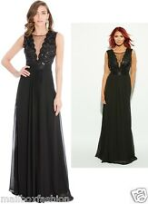 Amy Childs Style Holly Maxi Dress Black Full Length Gown Evening TOWIE Size 8-16