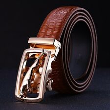 Casual Mens Genuine Leather Alloy Automatic Buckle Crocodile Leather Strap Belts