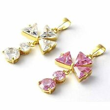 Womens Cute Flower Clear/Pink Swarovski Crystal Stone Pendant Yellow Gold Filled