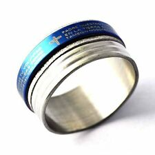 fashion mens  blue Silver stainless steel cross Bible wedding ring size 8-12