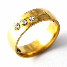 Yellow Stainless Steel CZ Wedding Ring Gold Band For Men/Women Size 6-11