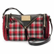NEW! Juicy Couture Sonja Barrel Bag Purse Chic - Black / Quilted / Plaid Flannel
