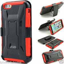 Heavy Duty Shockproof Tough Armor Red Hard Case +Belt Clip For iPhone 6/6s PLUS
