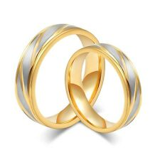 Size5-13 Gold Plated Stainless Steel Couple Rings Set Titanium Wedding Gift
