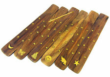 Wooden Incense Holder Cone Burner Aum Buddha Star Of David Ying Yang Elephant