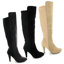 GIRLS WOMENS KNEE HIGH HEELS EVENING SEXY STILLETO BOOTS LEATHER SUEDE SIZE 3-8