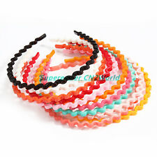 12pcs/lot Colorful Women Wave Headbands Plastic Hair Hoop Bands Hair Accessories