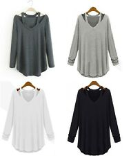 Women Ladies Casual Long Sleeve T-Shirt V Neck Loose Tee Tops Blouse Pullover