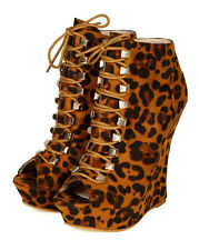 Liliana Spectra-7 Leopard Suede Peep Toe Lace Up Platform Wedge Bootie