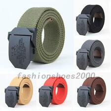 New Adjustable Mens Slider Buckle Long Weave Canvas Web Belt Military Style