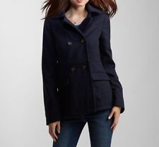 AERO Aeropostale Womens Classic Hooded Pea Coat Peacoat Jacket Wool Navy M NWT!