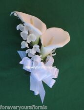 New Artificial White Calla Lily Corsage, White Mother's Calla Lily Corsage