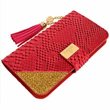 Luxury Snake Skin PU Leather Flip Wallet Purse Case PINK for Samsung Galaxy Note