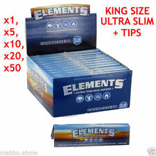 Elements King Size Ultra Thin Rice Papers + Tips x1,x5,x10,x20,x24 ( FULL BOX )