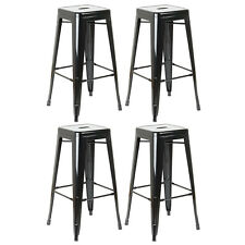 BLACK METAL STOOL CAFE/BREAKFAST BAR SEAT/CHAIR INDUSTRIAL VINTAGE CLASSIC STYLE