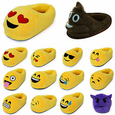 Womens Mens Cute Emoji Winter Warm Soft Plush Indoor Pajama Home Slippers Shoes