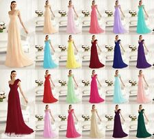 One shoulder Chiffon Bridesmaid Dress Formal Evening Dress Stock Size 6-16