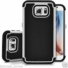 Heavy Duty Tough Armor 2 in 1 Dual Layer White Case Cover For Samsung Galaxy S6