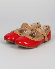 New Girl DI00 Off Patent Round Toe Pyramid Studded T-Strap Ballet Flat 5 - 10