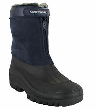 GroundWork LS88 Mens Navy Mucker Stable Yard Winter Snow Zip Up Wellies Boots