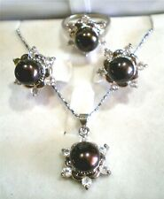 Cultured White & Orange Pearl Necklace, Matching Earring & Ring Set, Ring Sz 7.5