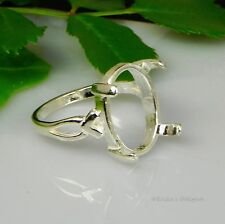 (8x6 - 18x13) Oval Vee Shank Cabochon (Cab) Sterling Silver Ring Setting