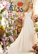 2016 new Hot Chiffion A Line Tulle Wedding Dress Bridal Gown Custom Size 4 6 ++