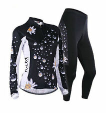 Womens Bike Bicycle Long Sleeve Cycling Jersey Suit Shirt Top Pants Set Black
