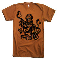 Mens Deep Sea Octopus Diver T Shirt - American Apparel Tee - S M L XL and XXL