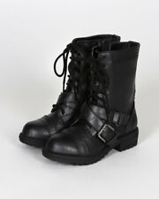 New Soda Mask-2S PU Lace Up Criss Cross Buckle Combat Boot (Toddler/ Girl) Sz