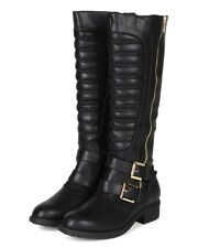 New Women Refresh Dason-09 Leatherette Ribbed Knee High Buckle Riding Boot