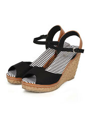 New Women Refresh Bypass-01 Canvas Fabric Peep Toe Ankle Strap Espadrille Wedge