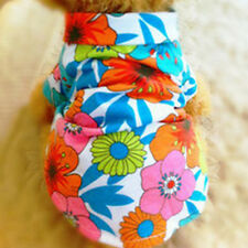 Puppy Pet Dog Chic Clothes Nice Hawaiian Beach Floral T-Shirt Apparel Costumes